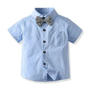 Image 4 - Baby kinder kleidung jungen anzug set für sommer neue angekommene blaue hemd grau shorts für baby geburtstag 2020 kleinkind gentleman anzug