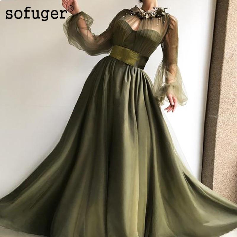 Green Illusion Long Sleeve Evening Dress Belt Robe De Soiree Plus Vestidos De Fiesta De Noche Formal Party Gown Arabic Muslim