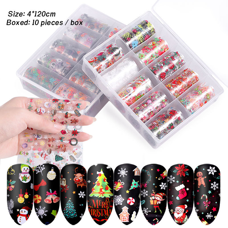 10pcs Kids Adult Festival Stickers Christmas Transfer Nails Sticker Flower Gift Santa Decal Halloween Nail Art Decor Decorations