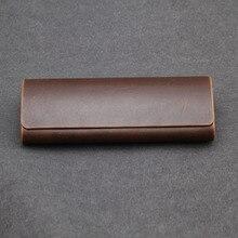 Vazrobe boîte à lunettes marron PU étui à lunettes en cuir rangement pour lunettes de lecture, tissu propre