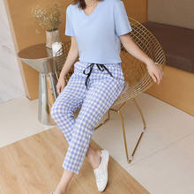 Seven Points Pants Lattice Two Sets 2021 Girls Summer Wear New Korean Version T-shirt Leisure Fashion Port Wind