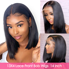 Aircabin 13x6 Lace Front Bob Wigs Brazilian Straight Natural Color Remy Human Hair Glueless Deep Part Short Wigs For Black Women