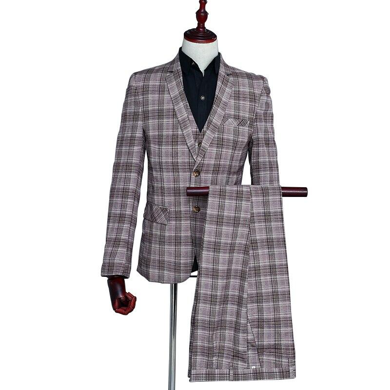 Classic Men's Banquet Casual Suit Three-piece Set Coffee Grid Two Buttons Notched Lapel Business Suit Set (Coat+Vest+Pants)