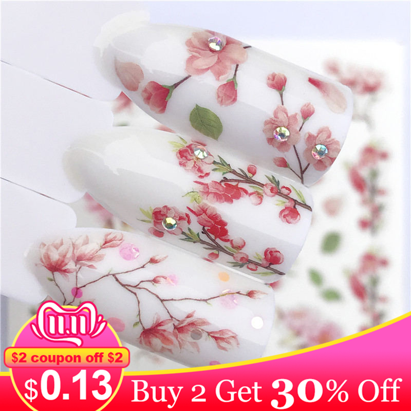 Lcj flor misturada decalques arte do prego transferência de água adesivos lavanda/apanhador de sonhos/grama estilos ponta do prego decoração diy