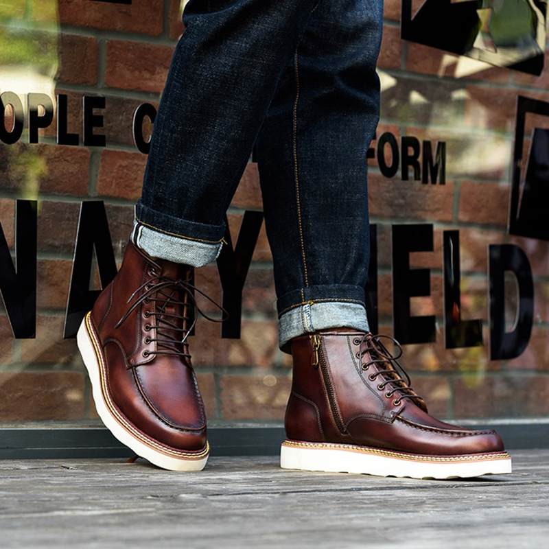 Новинка; модная мужская удобная обувь на шнурках ручной работы из натуральной кожи с круглым носком; мужская обувь на плоской платформе; бот... - 2