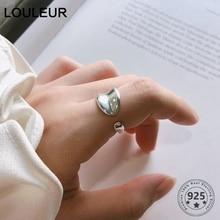 LouLeur Real 925 Silver Sterling Irregular Rings Hot Sale Minimalist Japan Korea Open for Women Fashion Fine Jewelry Gifts