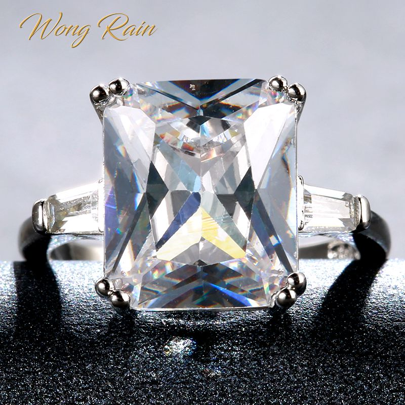 Wong Rain Vintage 100% 925 Sterling Silver White Topaz Gemstone Wedding Engagement White Gold Ring Fine Jewelry Gifts Wholesale