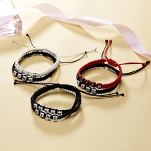 6Set European and American fashion new couple alphabet bracelets  King Queen handmade woven bracelet C-37