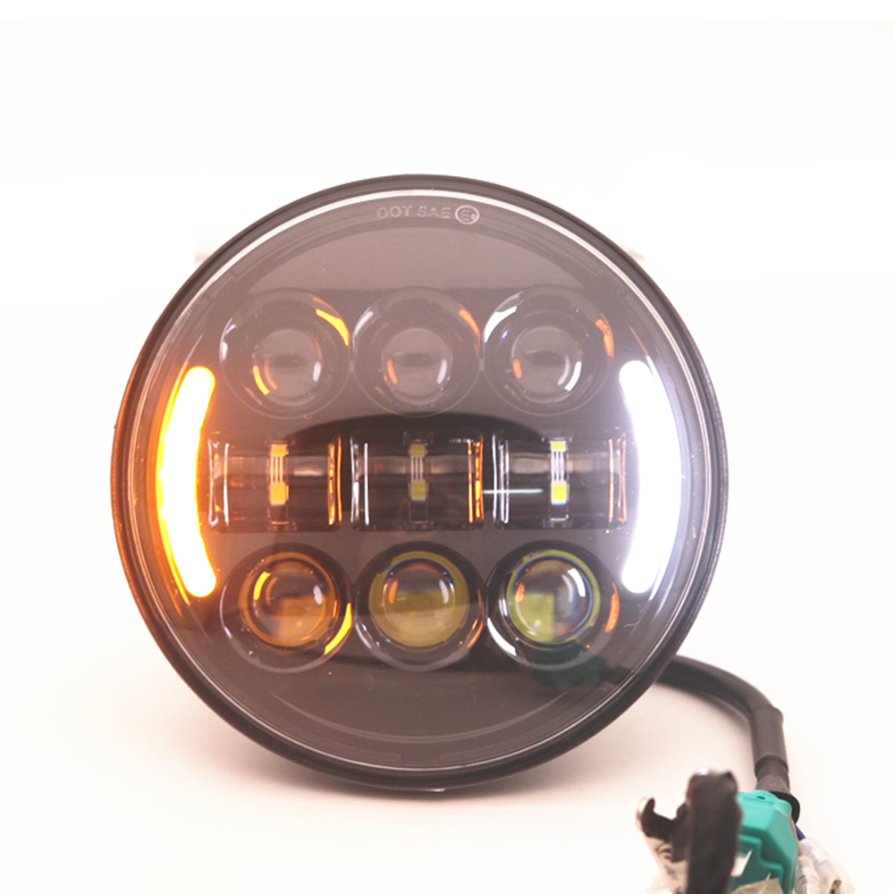 1pc 5 3/4 5.75Inch Round LED Headlight High Low Beam White DRL Amber Turn Signal Projector Motorcycle Headlight