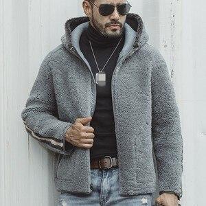 Image 5 - Luxury Reversible Genuine Sheepskin Jacket Men Casual Hooded Real Fur Coat Male Winter Loose Zipper Outerwear Plus Size 5XL
