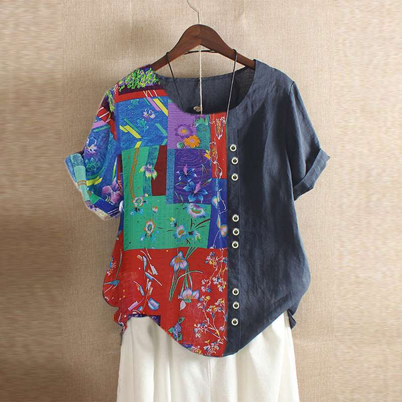 Summer Blouse Women Bohemian Printed Tunic Top ZANZEA Vintage Short Sleeve Patchwork Shirt Femme Robe Blusa Loose Cotton Blouse7