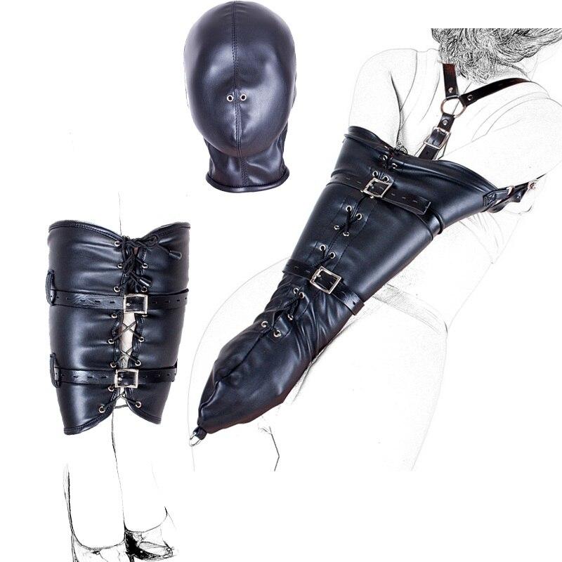 Bondage BDSM Restraints Role Play Hands Wrists Arm Leg Binder Hood Mask , PU Leather Tight Single Glove,Adult Costumes Sex Toys