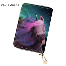ELVISWORDS PU Business Card Holder Fantasy Unicorn Horse Pattern Girls Money Purse Bag Cute Animal Mini Cluth Wallets