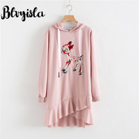 Blvyisla 3XL Plus Size Sweet Cartoon Deer Mini Hooded Dress Young Lady Winter School Style Irregular Ruffled Dresses