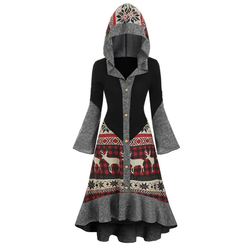 SMILEQ Dress Womens Plus Size Blouse Christmas Elk Hooded High Low Flounce Hem Knitted Dresses