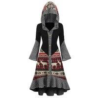Женское платье Винтаж Для женщин s размера плюс с принтом рождественского оленя и надписью, для активного образа жизни, с капюшоном, высокое ...