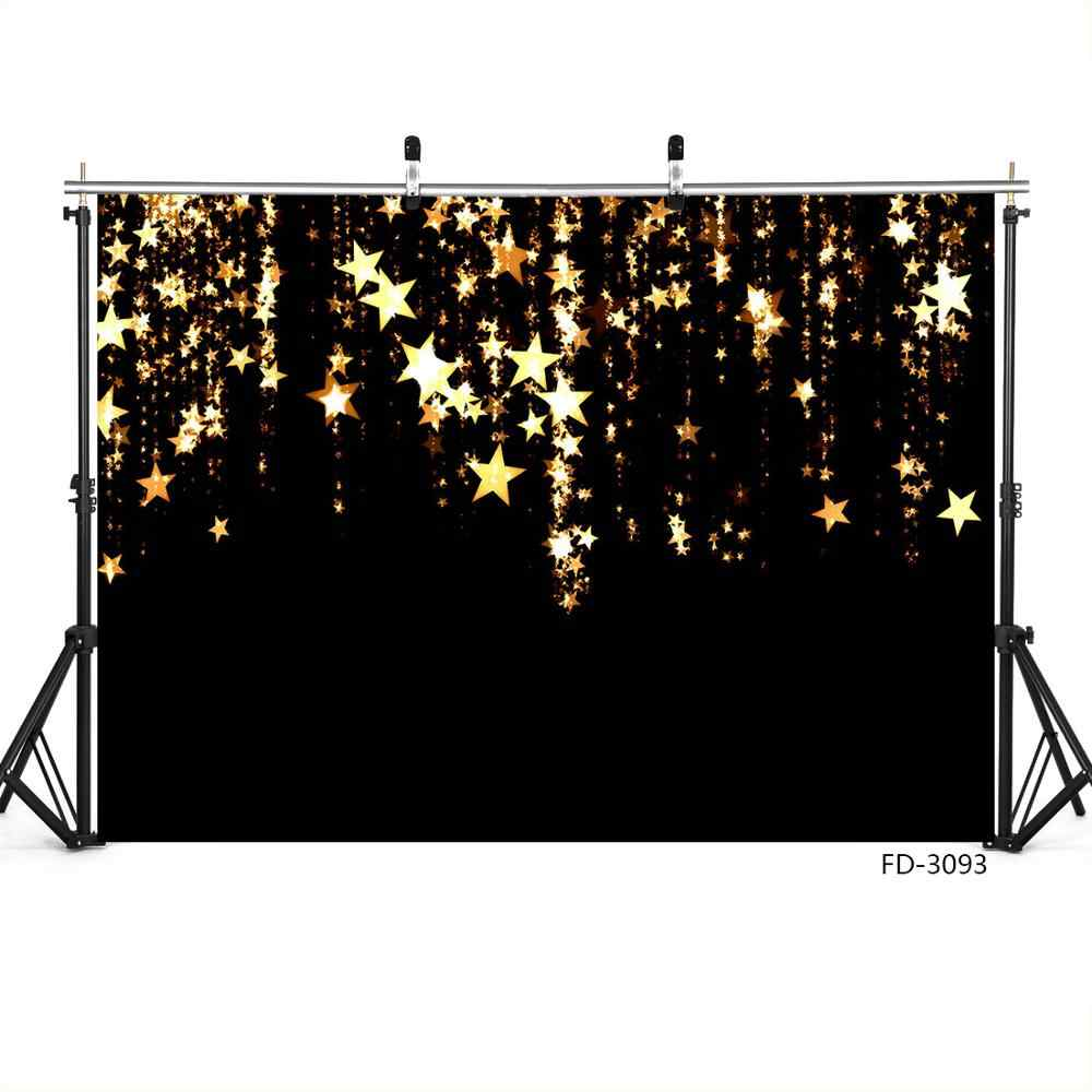 Photography Backdrop Golden Stars Black Christmas Vinyl Cloth Background for Children Baby Shower Party Photoshoot Photo Studio