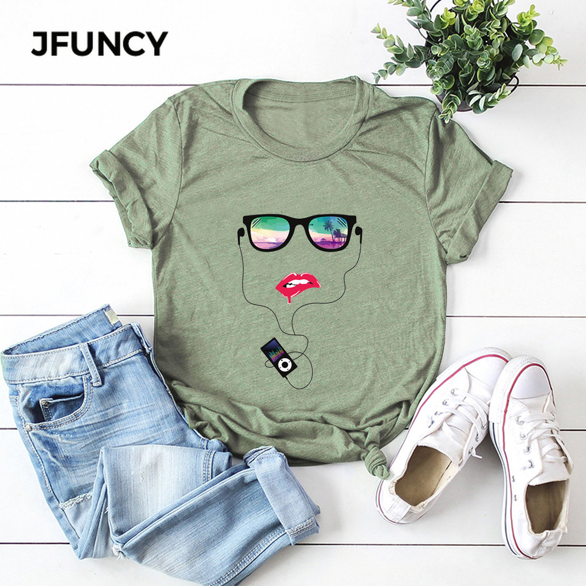 JFUNCY New Abstract Human Face Graphic Printed Tshirt 100% Cotton Summer Woman T-shirt Plus Size Short Sleeve Women Shirts Tops