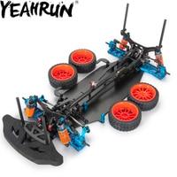 YEAHRUN Alloy & Carbon Frame Body Wheels Kit For RC 1/10 Drift Racing Car Shaft Drive