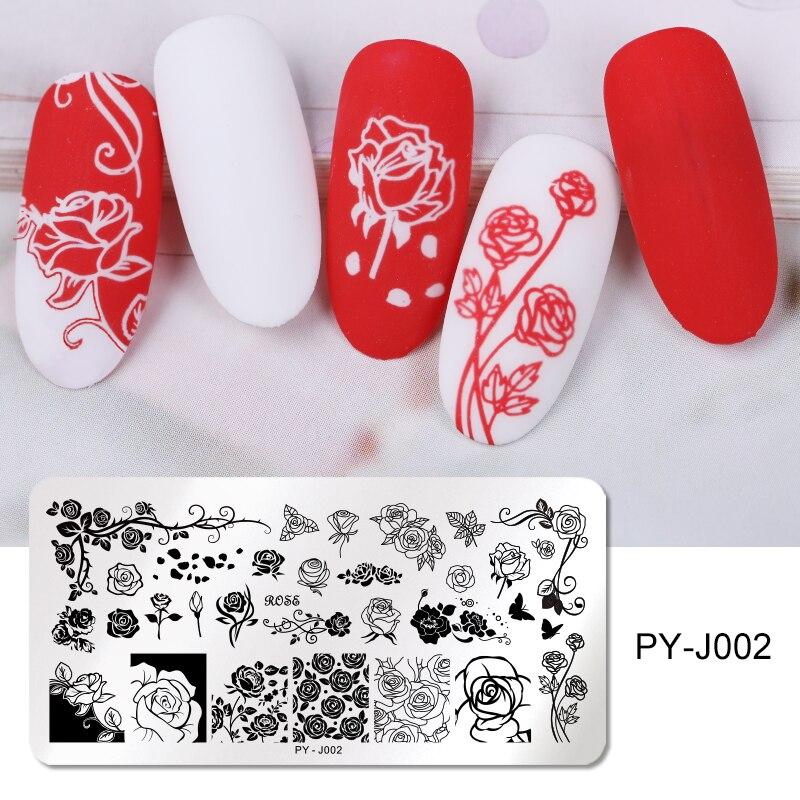 Прижимные пластины для ногтей PICT YOU Rose, прямоугольный штамп из нержавеющей стали с натуральным смешанным узором, для нейл-арта
