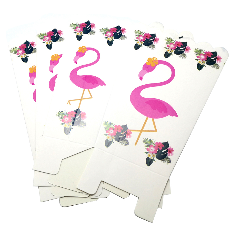 6pcs/lot Flamingo Theme Kids Favors Popcorn Cups Baby Shower Party Decorate Paperboard Gifts Boxes Birthday Events Party