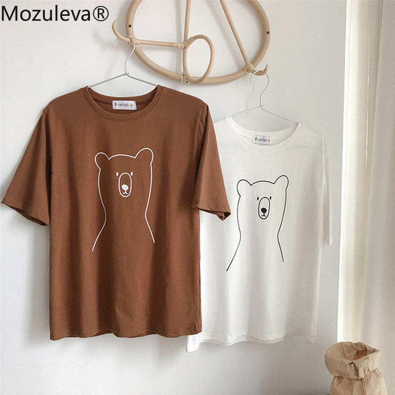Mozuleva 2020 Chic Cartoon Bear Cotton Women T-shirt Summer Short Sleeve Female T Shirt Spring White O-neck Top Tees 100% Cotton 5