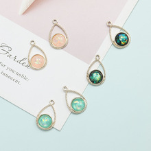 Retro drop green diamond handmade diy jewelry accessories material bag earrings eardrop pendant linked antique materials
