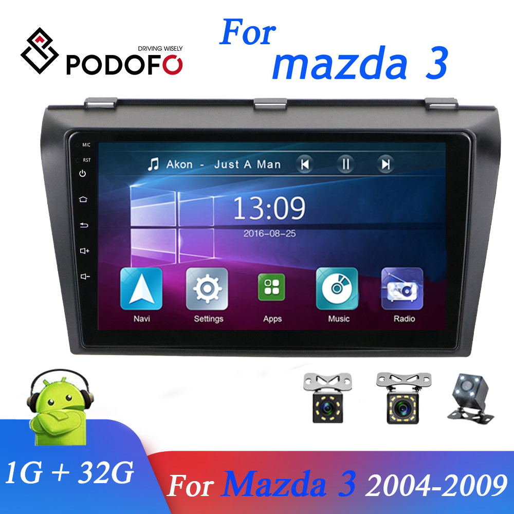 For <font><b>Mazda</b></font> <font><b>3</b></font> 2004-2009 Podofo Android 8.1 Car DVD <font><b>GPS</b></font> Radio Stereo 1G 32G WIFI Free <font><b>MAP</b></font> Quad Core 2 din Car Multimedia Player image
