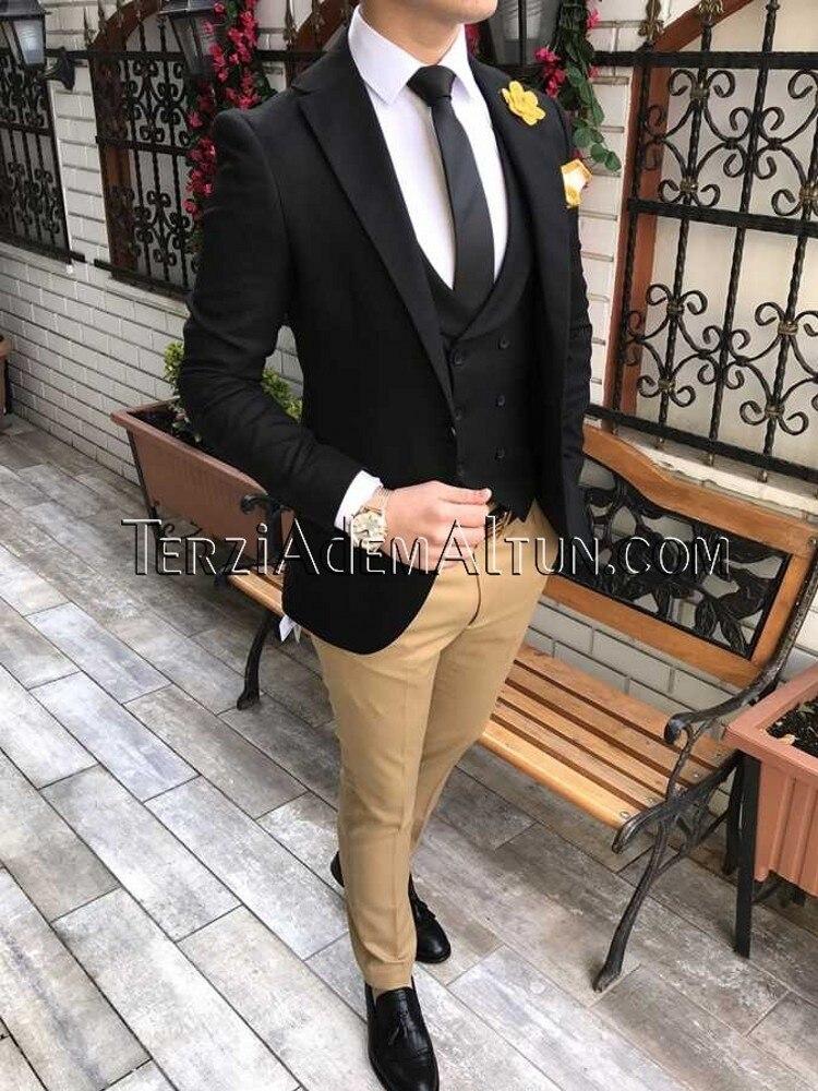 Men Suits Black And Champagne Groom Tuxedos Notch Lapel Groomsmen Wedding Best Man 3 Pieces ( Jacket+Pants+Vest+Tie ) C900