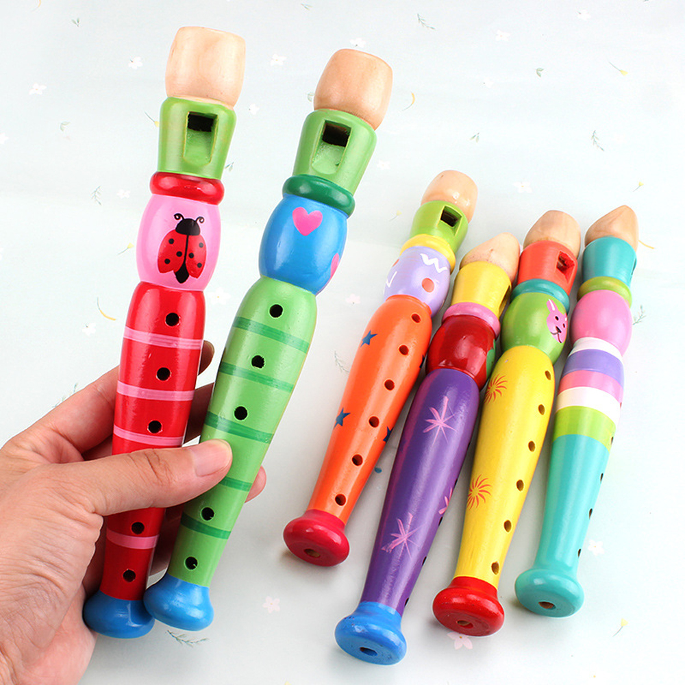 Kids 6-Hole Piccolo Colorful Wooden Toys Trumpet Buglet Hooter Bugle Music Toys Gift For Children Cartoon Educational Music Tool
