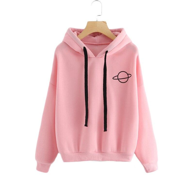 CALOFE 2019 Autumn Women Hoodies Casual Planet Print Solid Loose Drawstring Sweatshirt Fashion Long Sleeve Hooded Female Tops