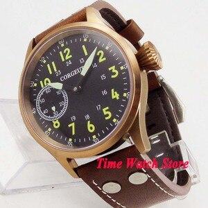 Image 1 - Remontage manuel mécanique, solide, 44mm boîtier en bronze verre de saphir montre pour hommes, matériau lumineux, 17 bijoux, mouvement cor105, 6497