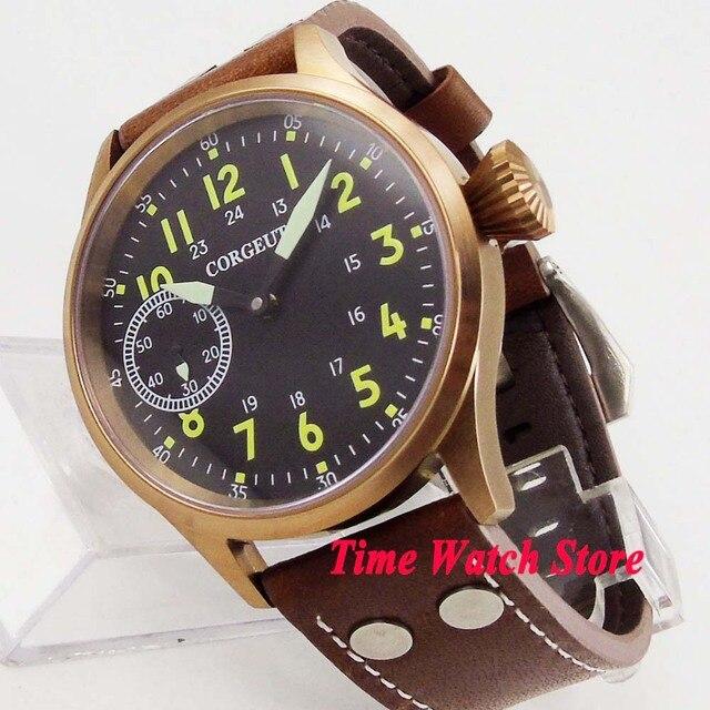 Remontage manuel mécanique, solide, 44mm boîtier en bronze verre de saphir montre pour hommes, matériau lumineux, 17 bijoux, mouvement cor105, 6497