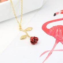 Jóias tridimensional óleo pingando requintado vermelho rosa pingente colar para namorada presente do dia dos namorados