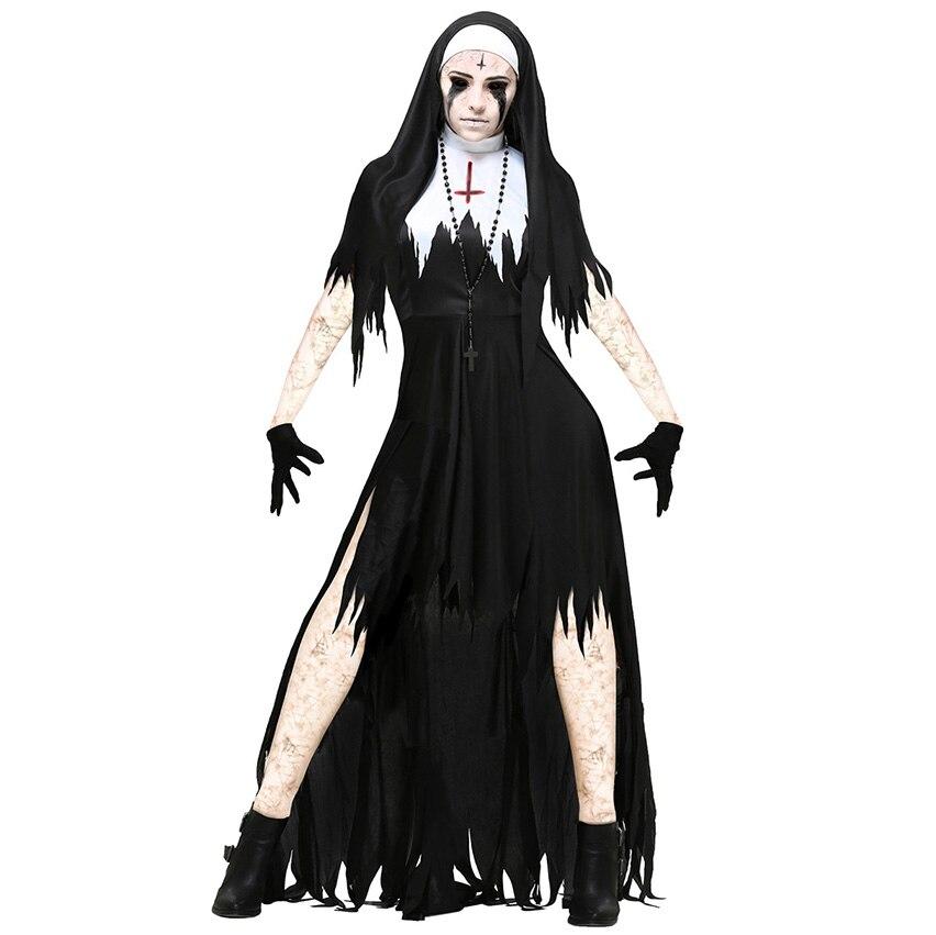 Костюмы на Хэллоуин, страшная монашка, вампирский набор, страшные вечерние, макси ГУСТ, необычные, страшные, ведьма, религия, День мертвых, ко