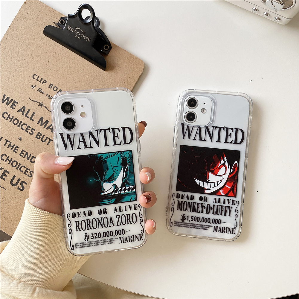 Cartoon Cute One Piece Luffy Zoro Wanted Soft Clear Tpu Phone Case For Iphone 12 11 Pro X XS XR Max 7 8 Plus Japan Anime Cover