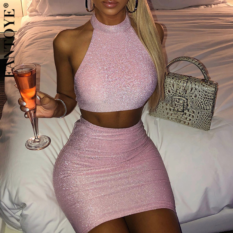FANTOYE Sexy Glitter Two Piece Set Women Crop Top And Skirts Female Halter Sparkle Clubwear Outfits 2 Piece Set Dress For Women