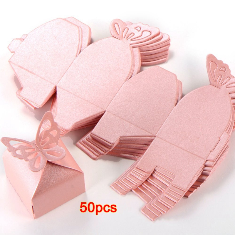 50pcs Butterfly Decoration Boite A Dragees Wedding Decoration Baptism Birth Rose