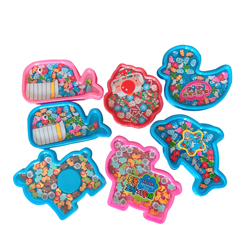 12boxes/lot New Kawaii Marine Animal Eraser With Gift Box Mini Fish Eraser Office&Study Cartoon Rubber Kids Gifts Wholesale