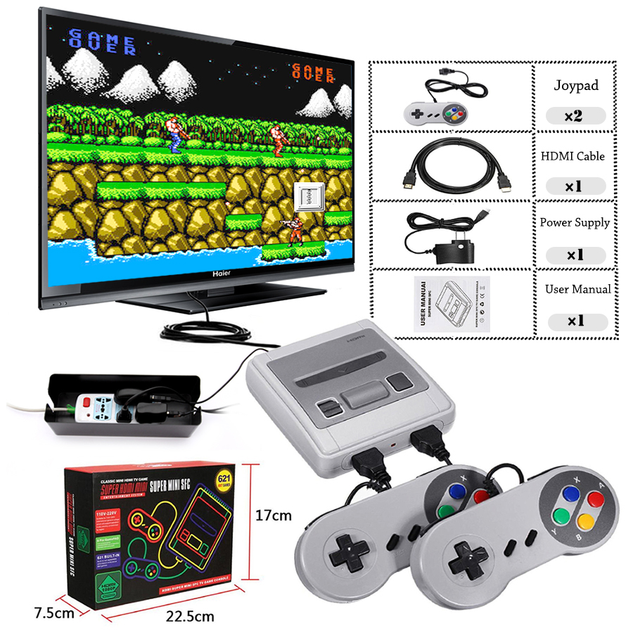 New Built-in 621 Retro Classic Games Super HD Output 8 Bit SNES Mini Video Game Console Family TV Gaming Console with 2 Gamepad