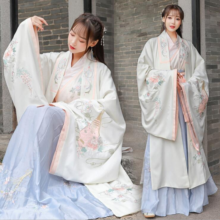 Traditional Original Design Of Hanfu Women's Embroidered Cross Collar Fresh Fairy Ancient Casual Formal Stage Performance 3 Pc