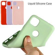 Caso de silicone líquido para google pixel 4a gel macio borracha capa protetora