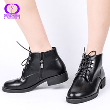 AIMEIGAO New Zipper Ankle Boots Women Soft PU Leather Low Heel Short Plush Boots Side Zipper Autumn Black Deep Blue Women Shoes(China)