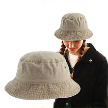 Hot Selling Fisherman Hat Washed Cotton Solid Womens Summer Caps Men Panama