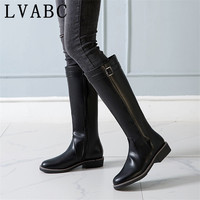 Women Shoes Winter Riding Boots Square Heel Boots Zipper Med Heel Knee High Boots Ladies New black Plus Size 34 43
