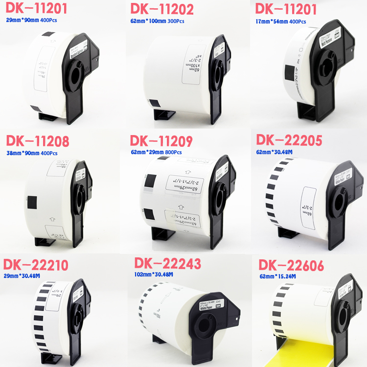 1Roll Brother Compatible For Brother Label DK-11201 DK-11202 DK-11204 DK-11208 DK-11209 DK-22205 DK-22210 DK-22225 DK-22243