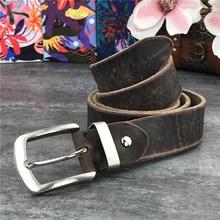 Stainless Steel Belt Buckle Luxury Leather Belt Men Super Thick Ceinture Men Belt leather genuine Men's Belt Wide Riem SBT0010