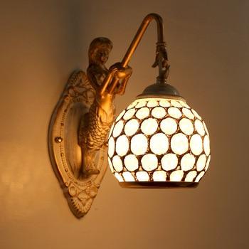 European Art White Mermaid Wall Lamp Pastoral Bedroom Bedside Lamp Corridor Staircase Balcony Mirror Headlamp Bathroom Light