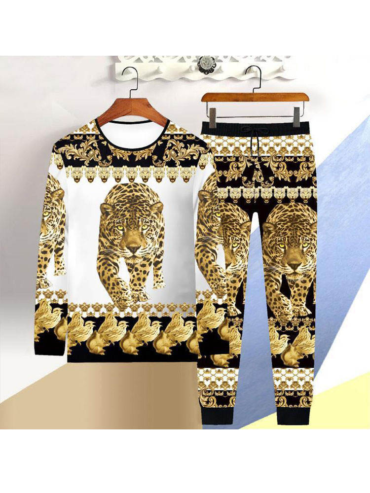 T-Shirt Men Trousers Dragon-Suit Tiger Chinese-Style Winter Long-Sleeved Casual 2piece