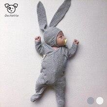 Geckatte New Autumn Cute Ear Hat+long Romper Sets Baby Girl Clothes
